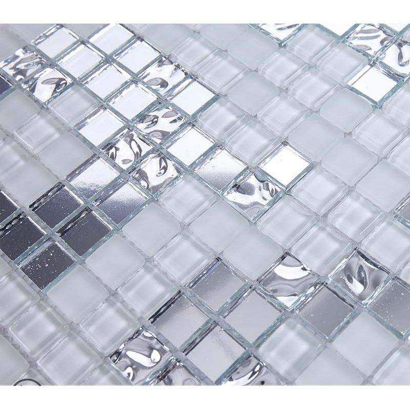 Silver And Cream Mirrored Glass Mosaic Tile Murals Frosted Crystal