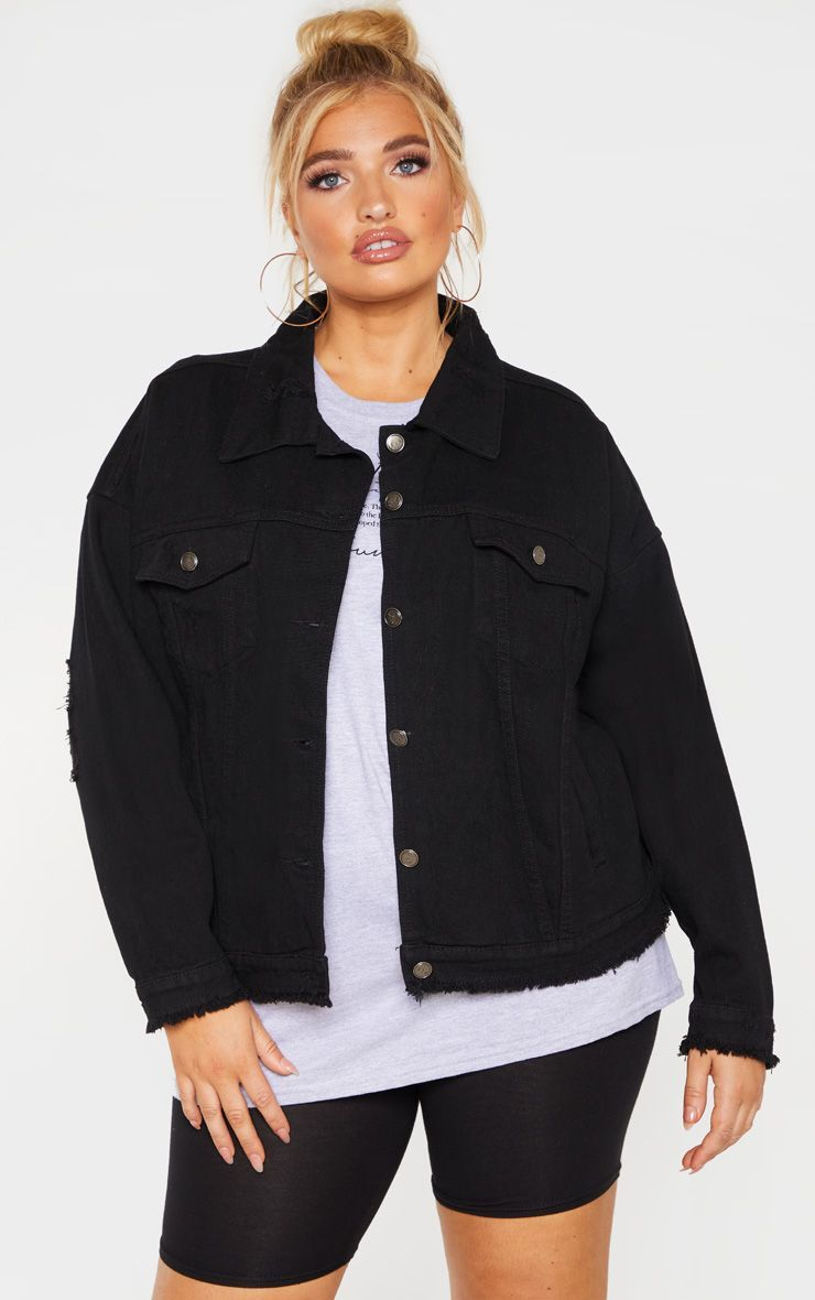 Plus Black High Waist Bikini Bottom Oversized Denim Jacket Black Denim Jacket Outfit Denim Jacket [ 1180 x 740 Pixel ]