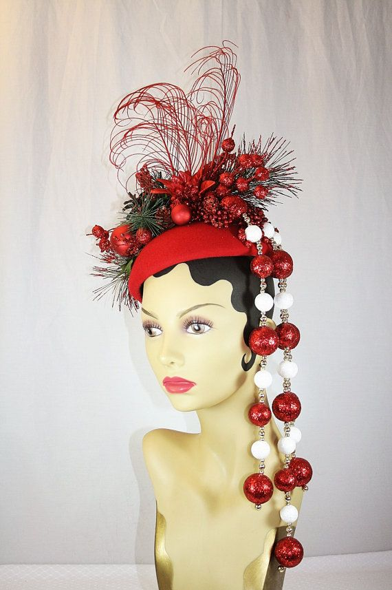 Haute Couture Runway Style Christmas Fascinator Hat Red Christmas ... ef1c5b7f682