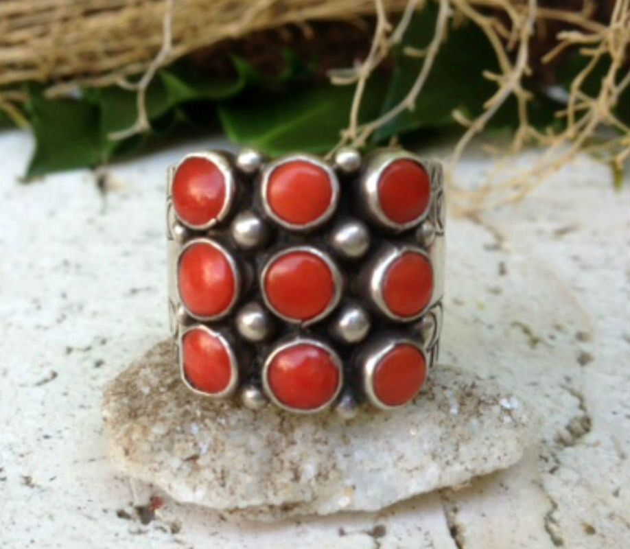 Vintage Collection ~ Coral Petit Point Ring / Southwestern Jewelry  / Old Pawn / Boho Chic Style / Sterling Silver / Size 8.5 - 8.75 by SilverRavenStudio on Etsy https://www.etsy.com/listing/244451597/vintage-collection-coral-petit-point