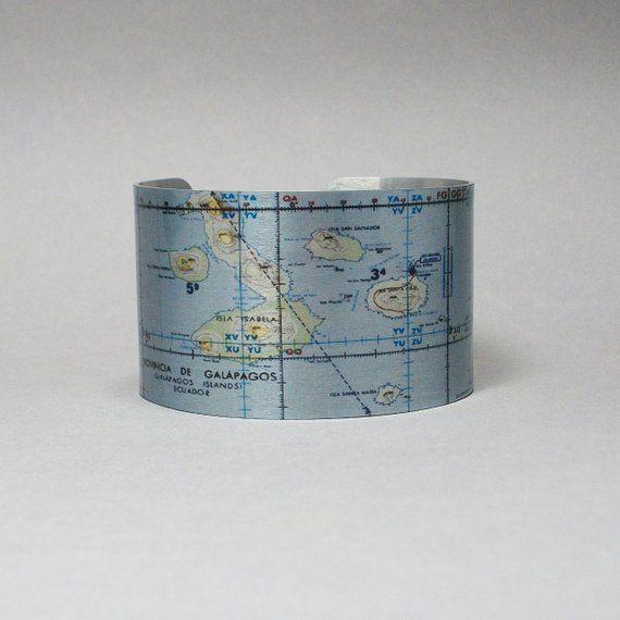 Cuff Bracelet Galapagos Islands Ecuador Map Unique Travel