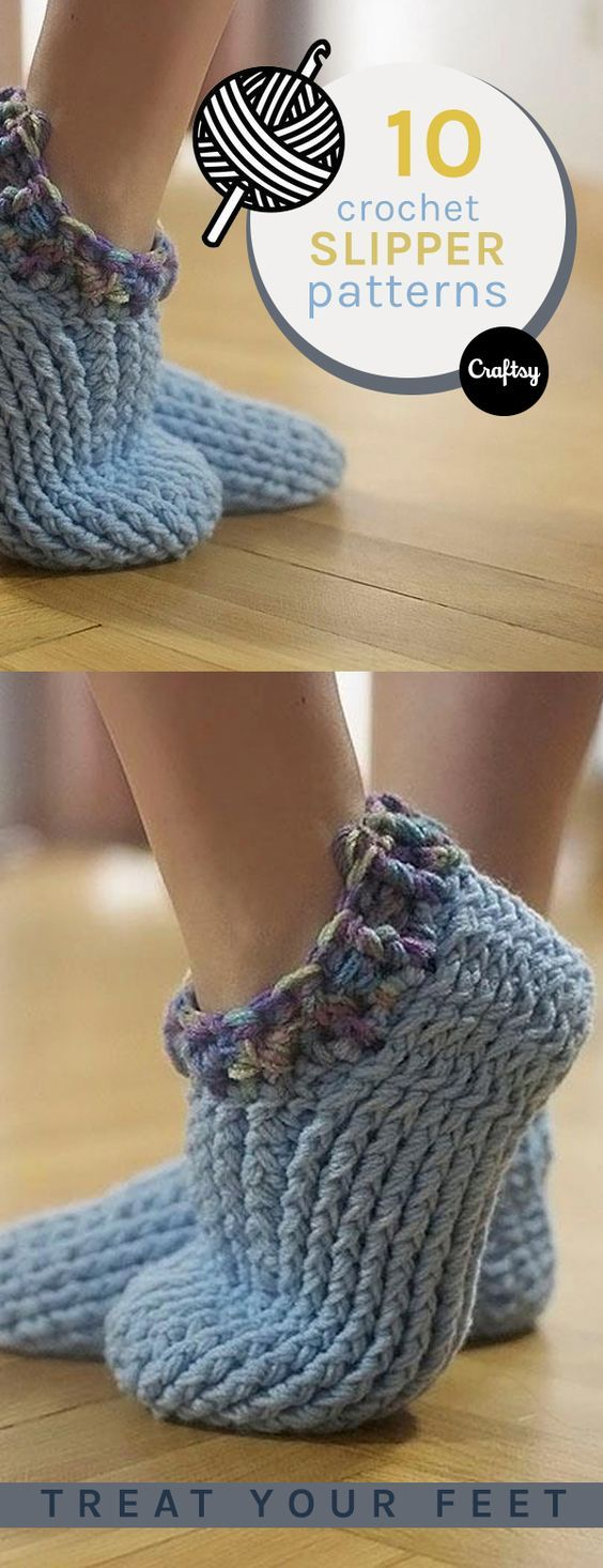10 Free Patterns for Crochet Slippers | Pinterest | Free crochet ...