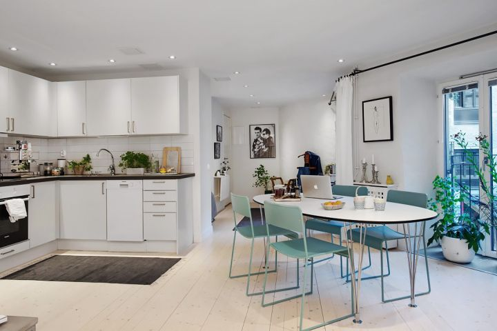 48 m² bien planificados Dining, Interiors and Kitchens