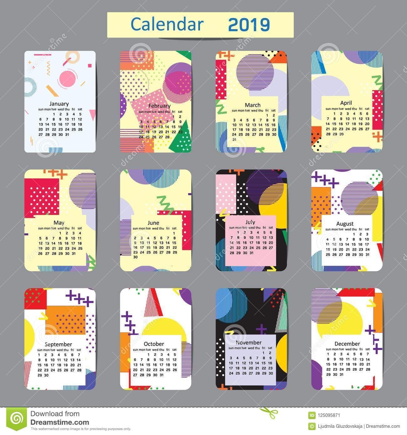 Cute calendar for 2019 original backgrounds pastel