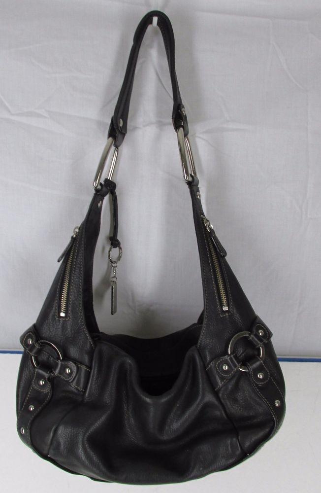 Black Pebbled Leather Luce Slouch Hobo Shoulder Bag Handbag