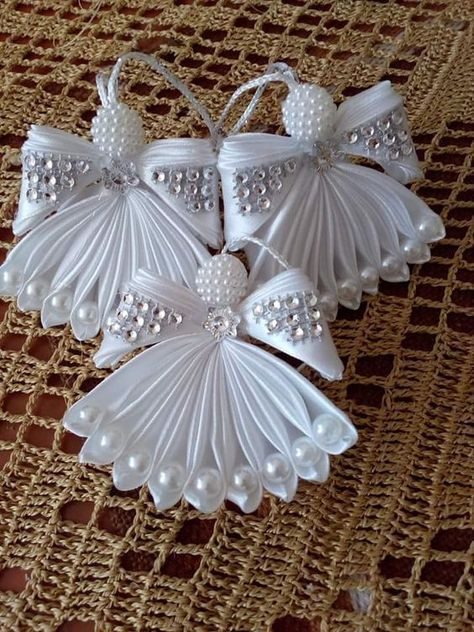 Photo of Angel ornament, silver angel ornament, Christmas angel, tree angel, tulle angel, …, #Baumeng …
