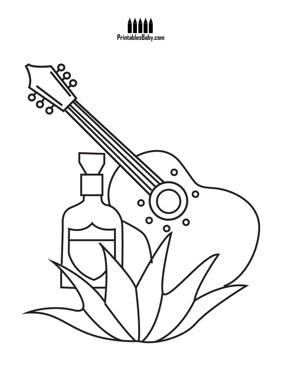 Ukulele And Tequila Free Holiday Coloring Pages Coloring Pages