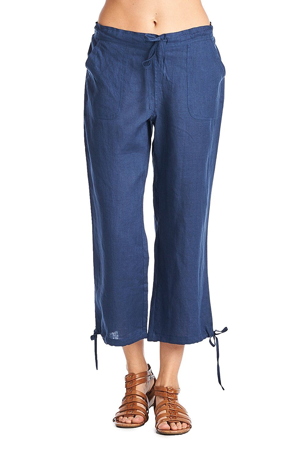 5dbf2816cd6043 High Style Women's Casual 100% linen capri pants with drawstring tie * You  can find out more details at the link of the image.