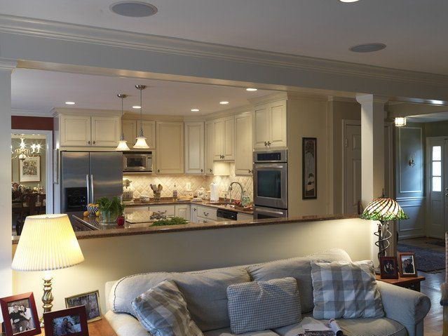Traditional Kitchen Open Floor Plan Half Wall Room