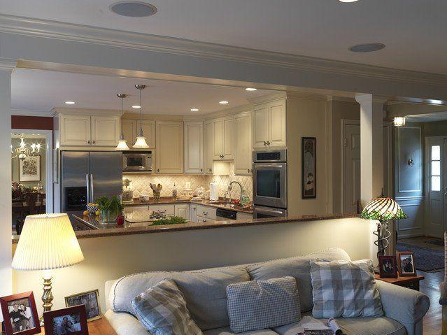 Traditional Kitchen Open Floor Plan Half Wall Room