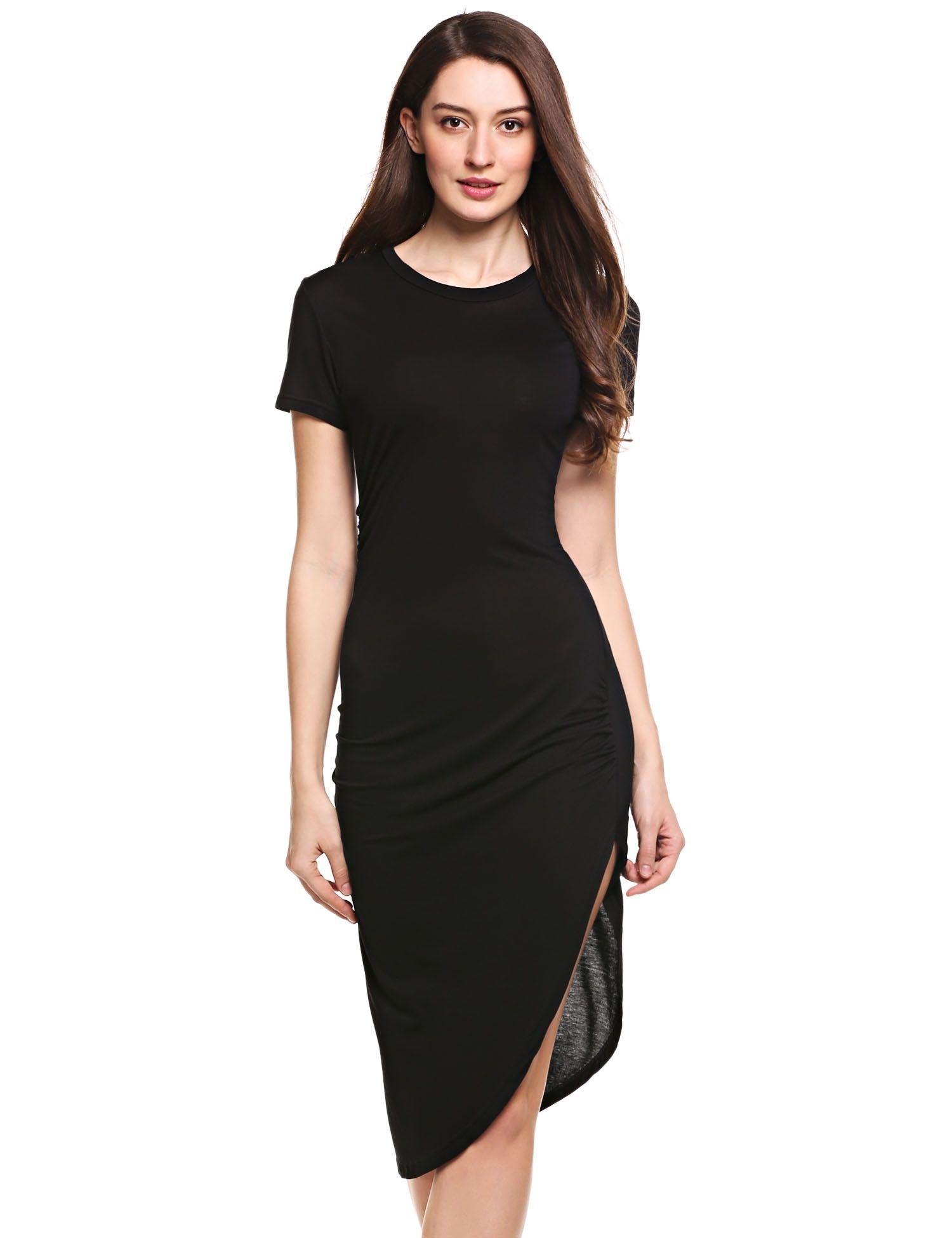 Dark gray short sleeve ruched asymmetrical tshirt dress shirts