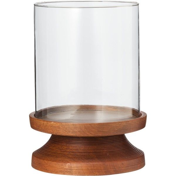 Smith Hawken Wood And Glass Hurricane Candleholder 7 5x11 Candle Holders Hurricane Candle Holders Wood Pillar Candle Holders