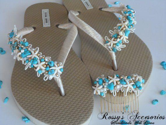 bc15bb1221d8 Natural Turquoise Stone Gold Flip Flops.  Beach Wedding Flip