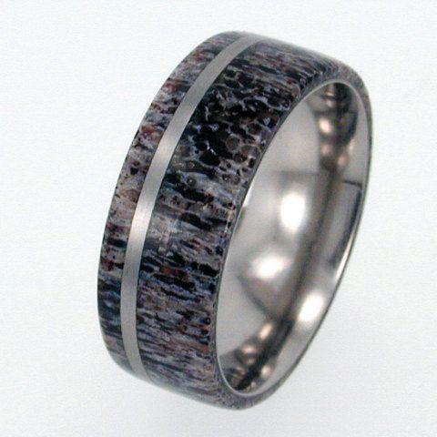 deer antler wedding band titanium ring mens wedding band - Deer Antler Wedding Rings
