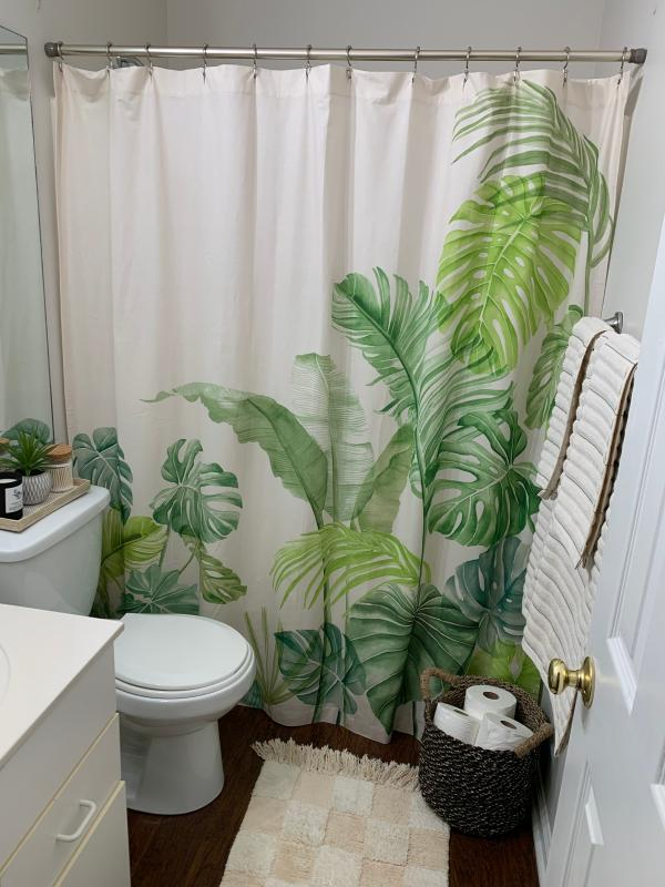 Watercolor Tropical Shower Curtain In 2020 Tropical Bathroom Decor Green Bathroom Decor Tropical Shower Curtains