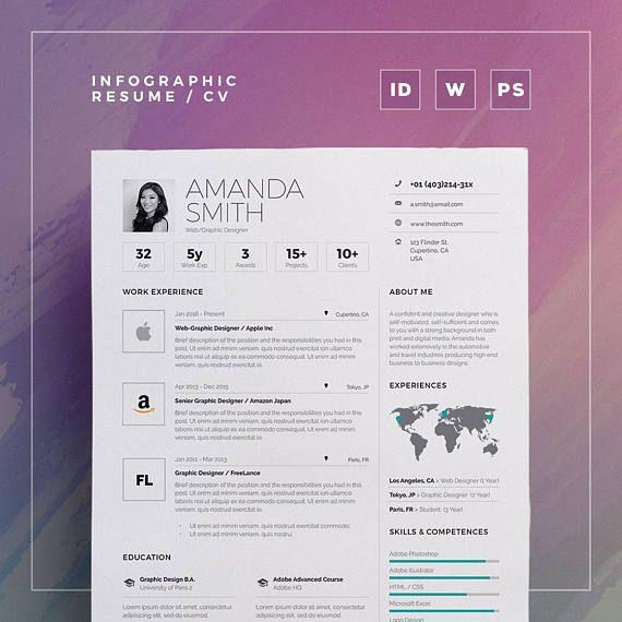Idesign Onepage Psd Template: Infographic Resume/Cv Volume 6
