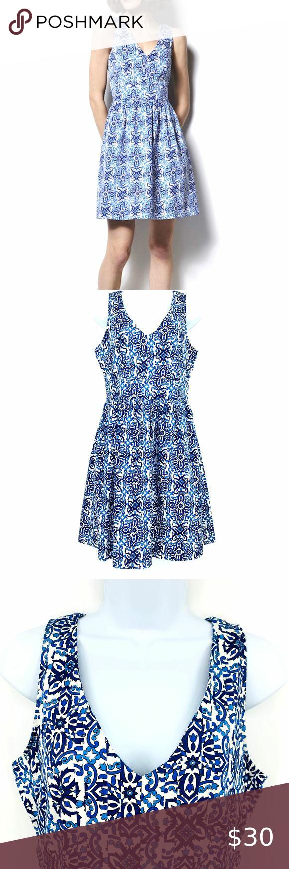 Milly Capri Italia Blue White Dutch Tulip Dress Tulip Dress Clothes Design Dresses [ 1740 x 580 Pixel ]