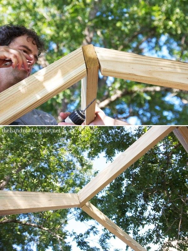 Building A Handmade Hideaway The Roof How To Build A Treehouse Building A Treehouse Build A Playhouse Gazebo Roof