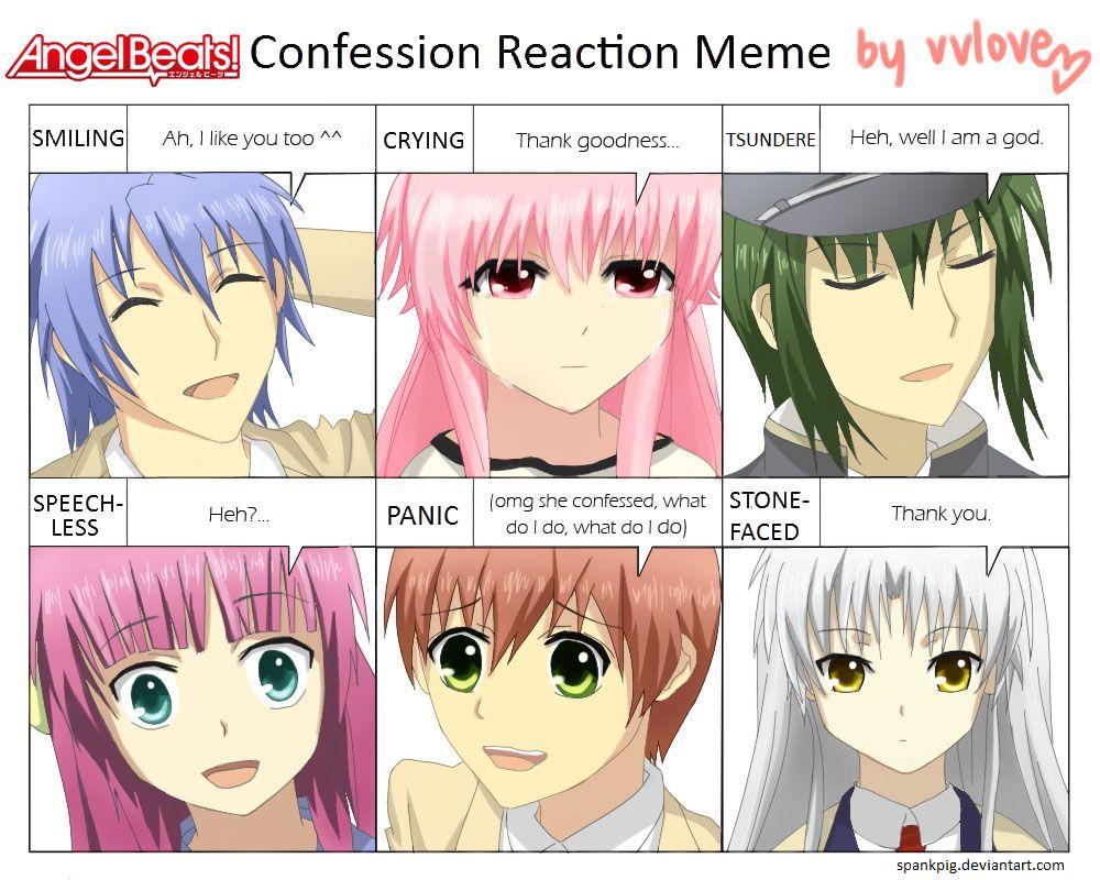 10b5117f07e232fdb46afe5d96331b6a angel beats confession meme by vvlove on deviantart angel beats,Angel Beats Meme