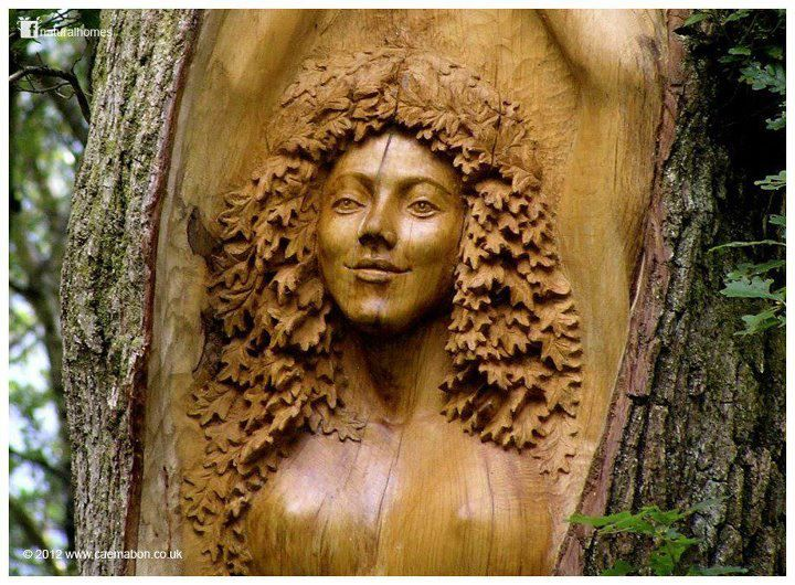 """""""Tree Spirit"""" carved in the trunk of an Oak tree at Cae Mabon in Wales."""