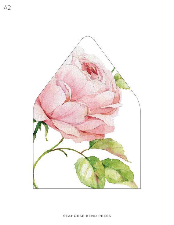 Peony Envelope - Envelope Liner - Flower Envelope Liner - Floral