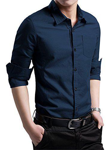 f03eb631a42 XTAPAN Men s Cotton Slim Fit Casual Long Sleeve Button Down Shirt Navy Blue  XL