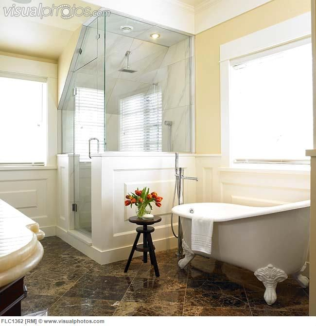 Bathroom With Corner Shower Stall And Clawfoot Tub