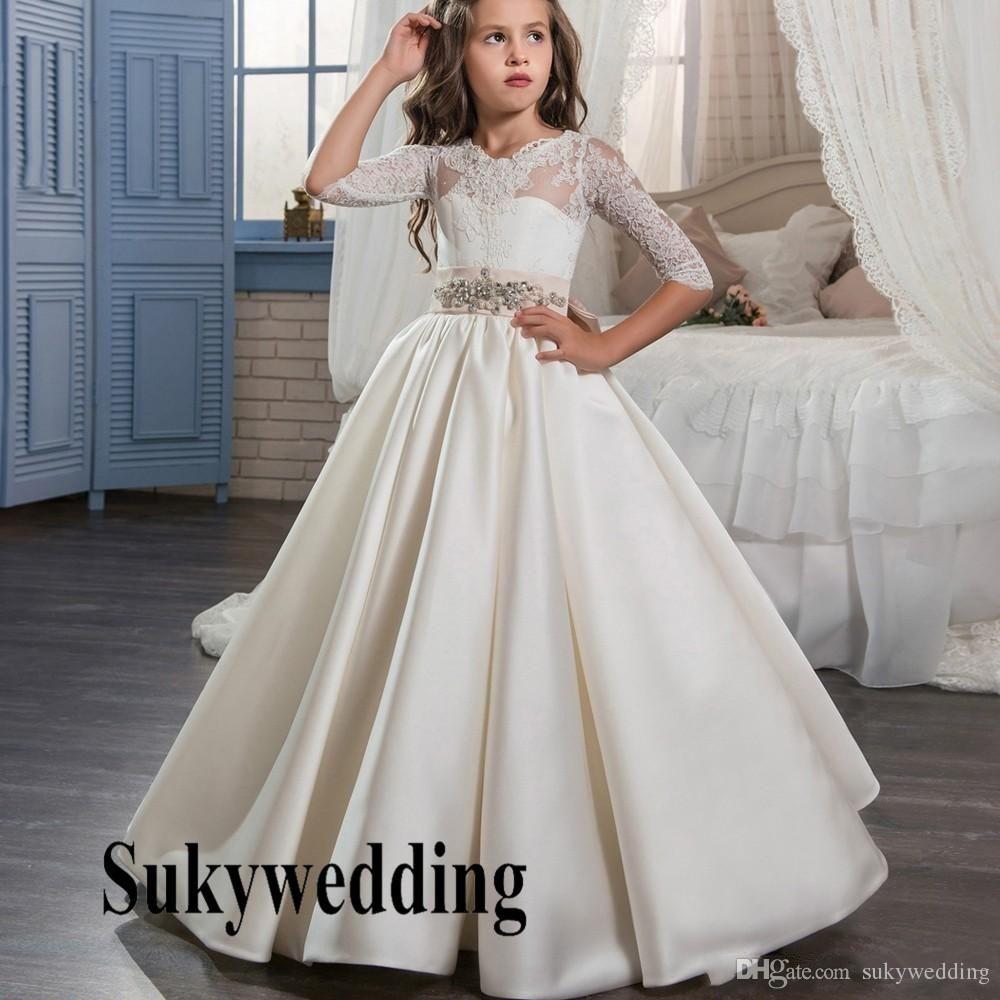 00c5025f069a0 2019 Princess Flower Girls Dresses For Weddings White Satin A Line ...