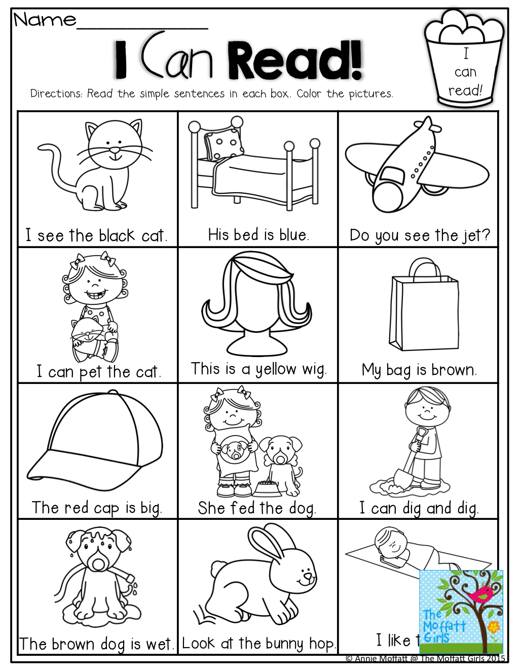 Worksheets Read And Color Worksheets read and color the simple sentence correctly i can like this as kids in pics they know sentences with sight words cvc matching pictures