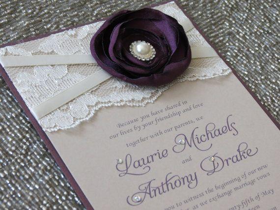 Sabrina Plum And Champagne Lace Wedding Invitation Purple Flower Ivory Vintage Invite