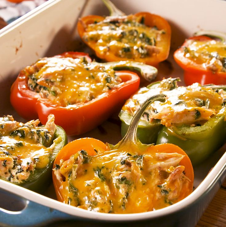These Creamy Chicken Stuffed Peppers Are Packed With Flavor Recipe In 2020 Stuffed Peppers Chicken Stuffed Peppers Creamy Chicken