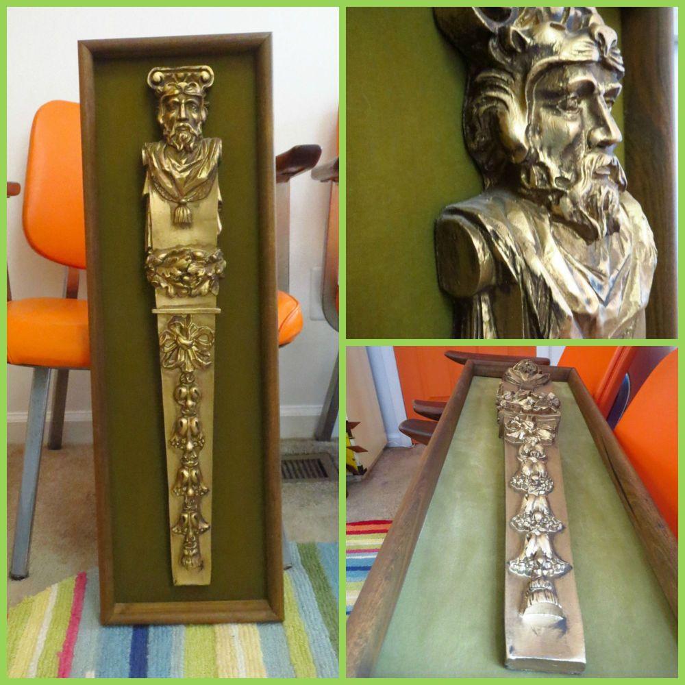 Vtg s mid century hollywood regency gold wood king wall art