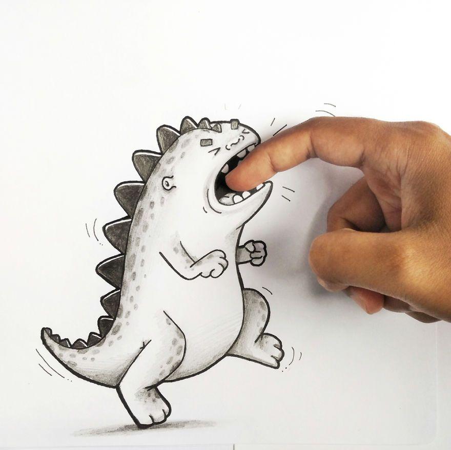Открытка, смешной дракончик картинки карандашом