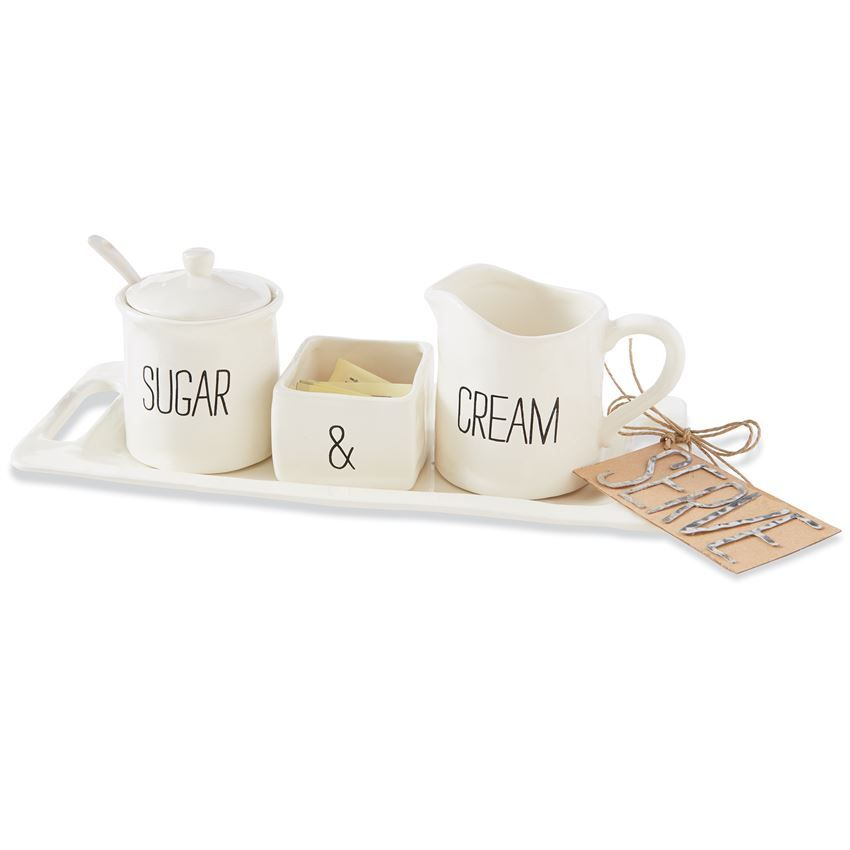 Sugar and Creamer Set Spoon /& Sweetener Holder Sugar Bowl White Ceramic Tea//Coffee Set 4-Piece Set w//Cream Pitcher