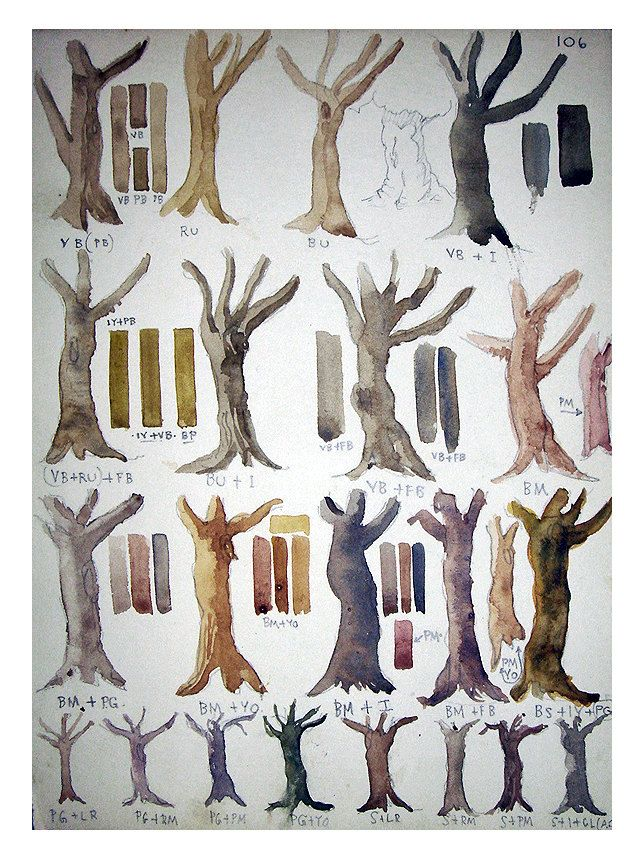 Vintage Original Watercolor Painting Study Tree Trunks Art