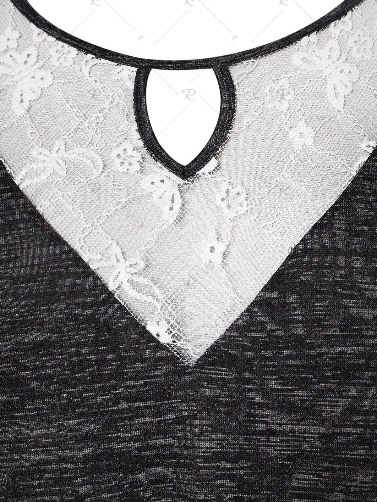 Plus Size Lace Panel Keyhole T Shirt Lace Panelled Lace Insert Lace