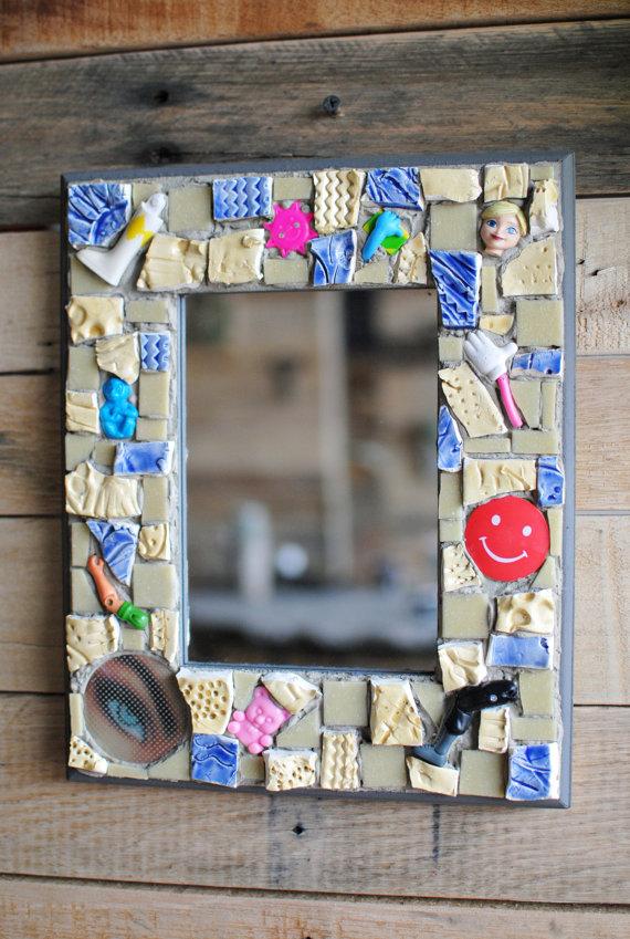 CLEARANCE, Mosaic Mirror Frame- Glass Mosaic Wall Mirror- Mosaic Art ...