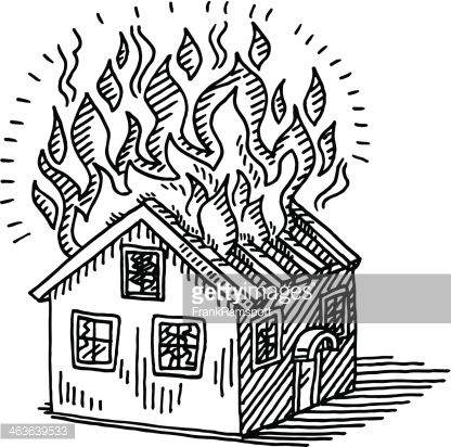 Hand Drawn Vector Drawing Of A Burning House Disaster With