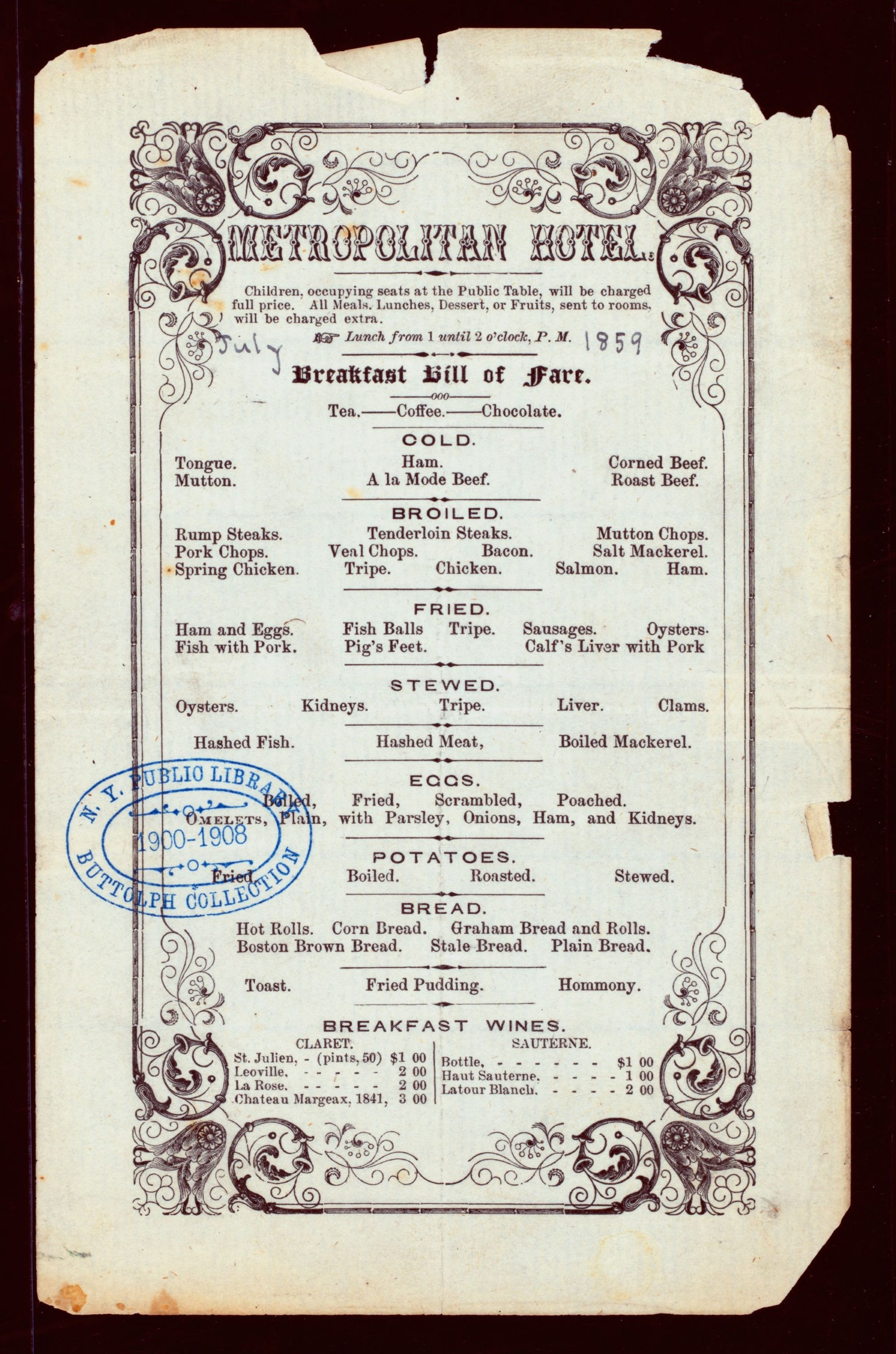 10 awesome vintage menus from the New York Public Library's Digital Collection #menus