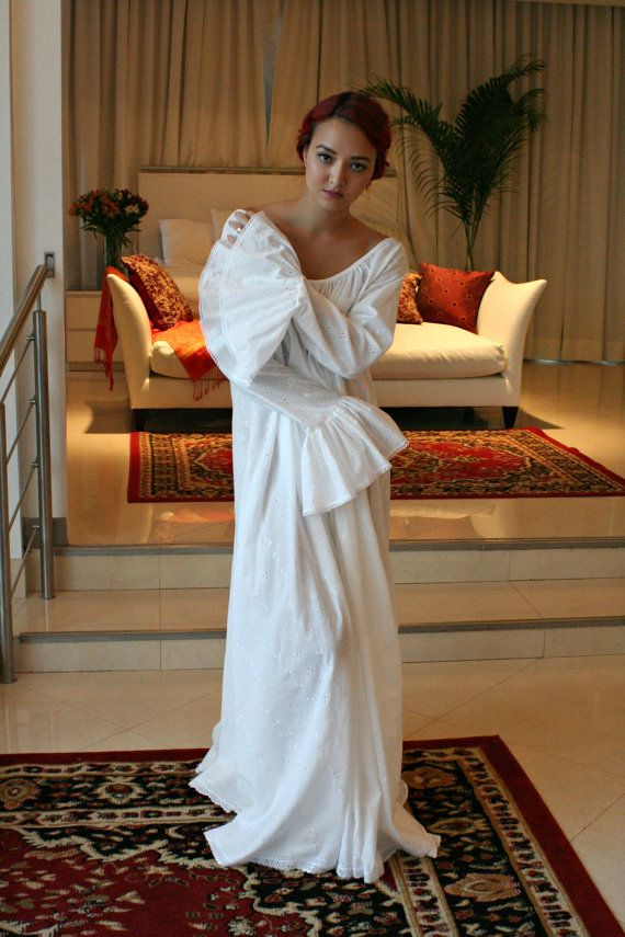 8567e783e02 White Lace and Nylon Nightgown Camille Innocence Nightgown Bridal Lingerie  Wedding Sleepwear Lingerie. 100% Cotton Embroidered Nightgown Long Sleeve  by ...