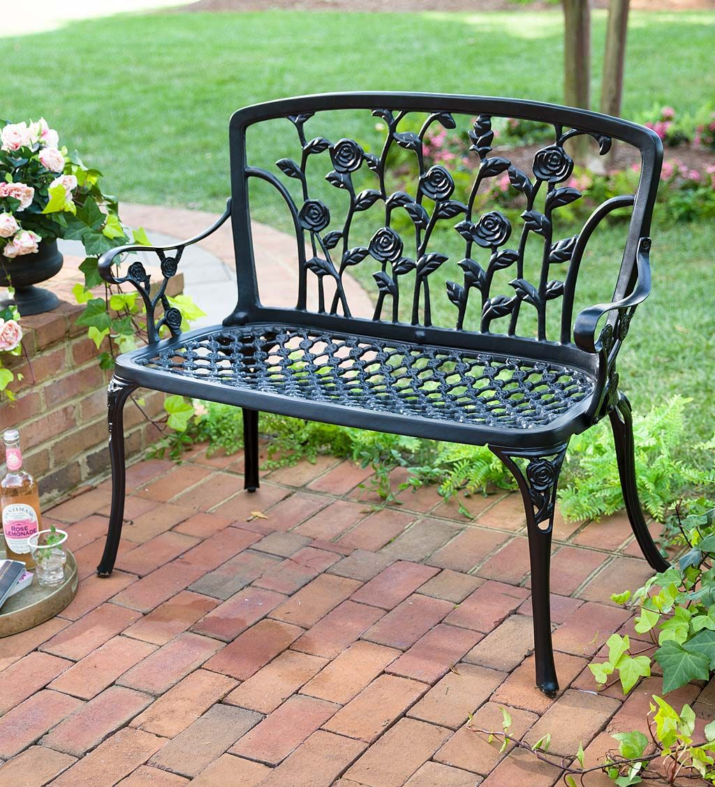 Our Climbing Roses Metal Garden Bench Adds English Garden Charm To