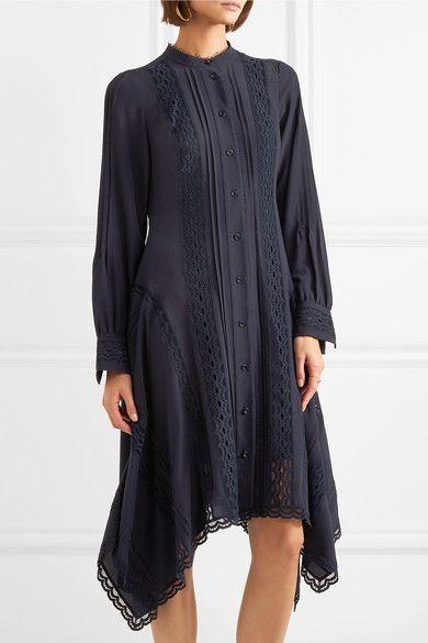 Lace-trimmed Silk Crepe De Chine Midi Dress - Navy Chlo l0P9xtC