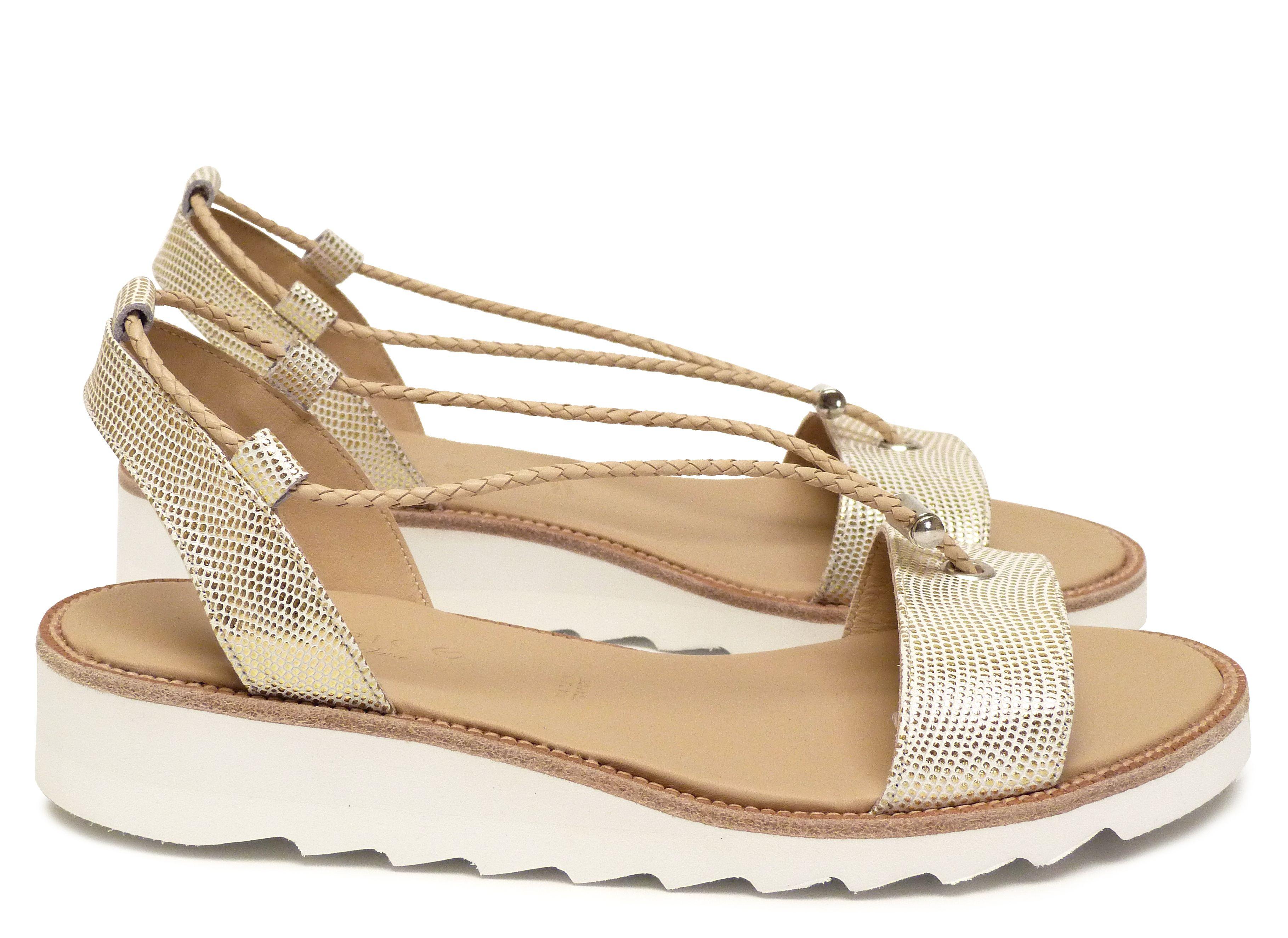 6c072e62b6d Chaussures Femme Sandales Printemps Ete 2015 Maurice Manufacture BOSS Cuir  razza blanc or