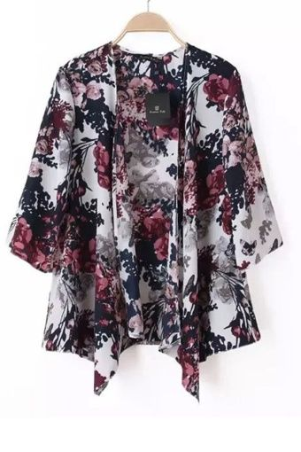 Buy Chiffon Kimono Cardigan Floral Print (Multicolor) online at ...