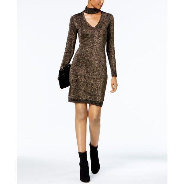 7f4e5e8988 Michael Michael Kors Metallic Choker Sweater Dress ( 135) ❤ liked on  Polyvore featuring dresses