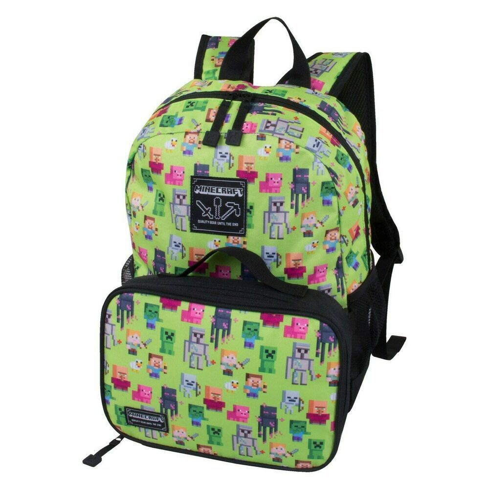 """*NEW* MINECRAFT Backpack Characters All Over Print 16/"""" Backpack School Bag"""