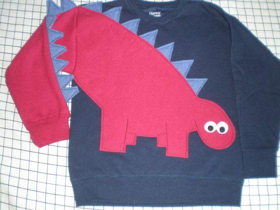 Children's dinosaur shirt in navy with a red dinosaur. Kids dinosaur sweatshirt, size medium or large. Red dinosaur, blue spikes, SPECIAL