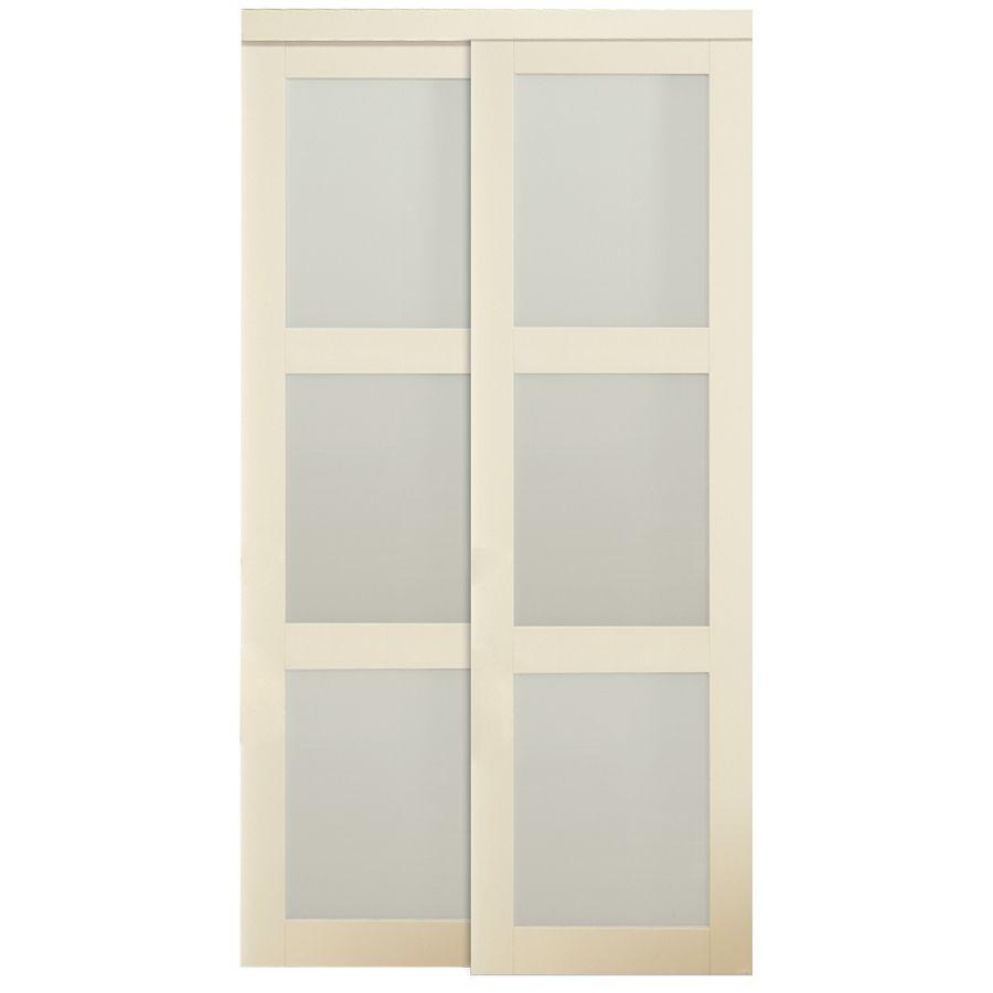 ReliaBilt 3 Lite Frosted Glass Sliding Closet Interior Door (Common: 60 In