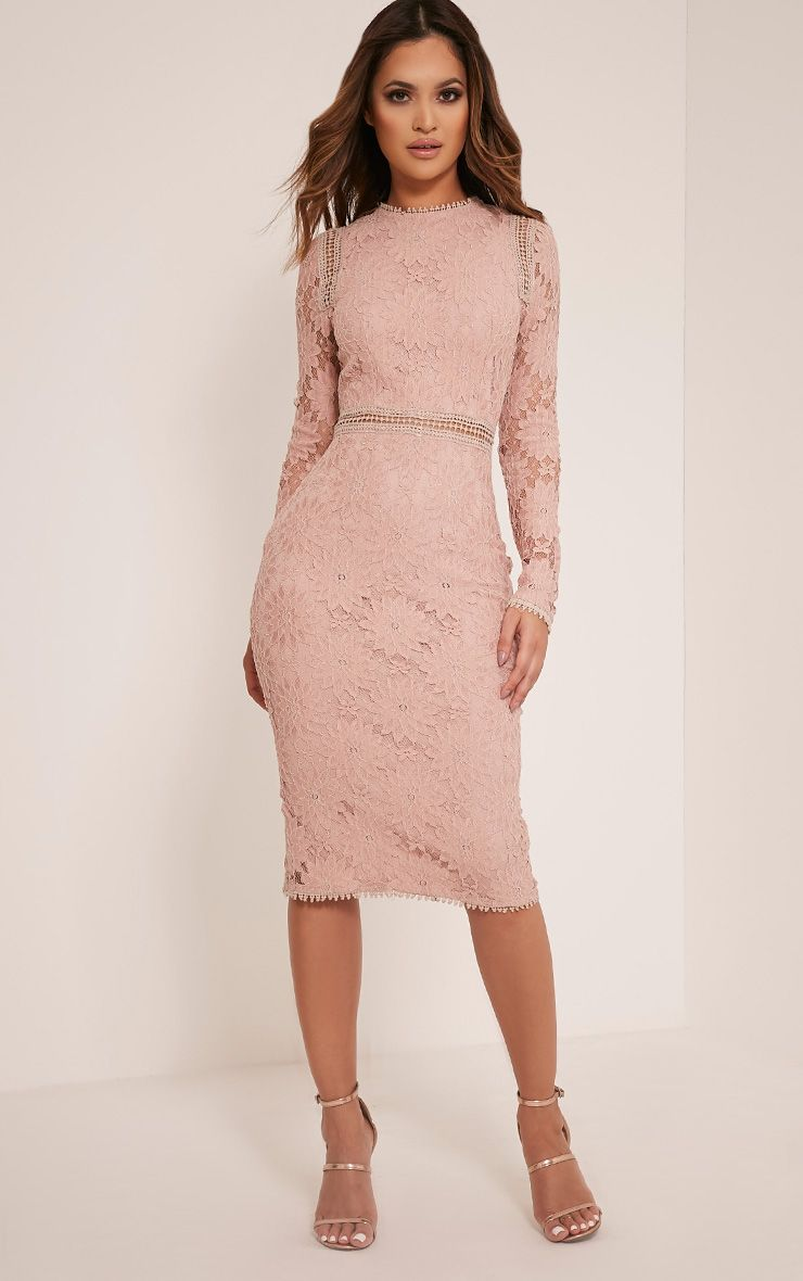 bb357524754 Caris Dusty Pink Long Sleeve Lace Bodycon Dress - Dresses -  PrettylittleThing