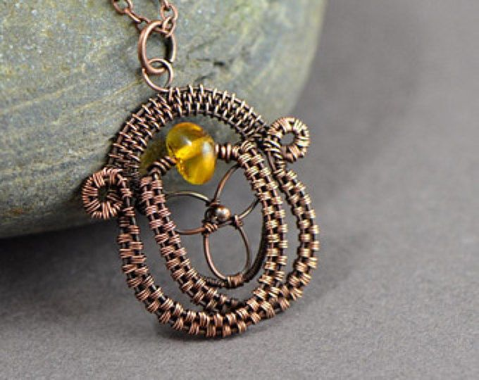 Wire wrapped sword dagger pendant copper wire jewelry garnet ...